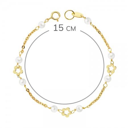 """Pulsera """"Mitjana"""" Oro 18kt para niña con perlas cultivadas flores caladas y cadena de 15cm"""