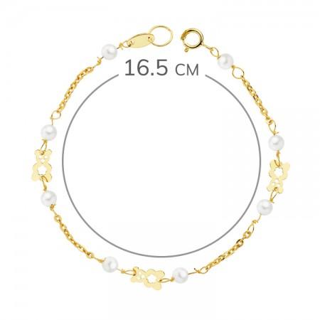 """Pulsera """"Bassa"""" de niña en Oro 18kt 1ª Comunión con perlas y ositos calados - 16,5cm"""