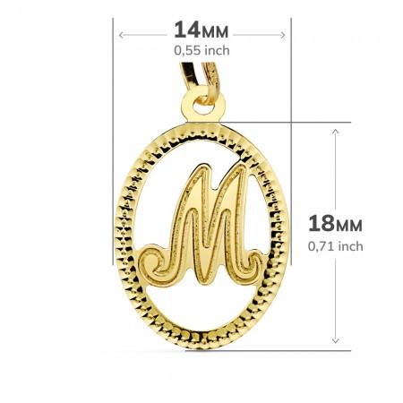 """Colgante de Inicial Tallada Letra """"M"""" Oro 18Kt"""