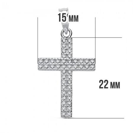 Cruz de 24mm con Circonitas de Oro Blanco 18kt.