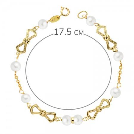 """Pulsera """"Figuera"""" para niña de Oro 18kt con perlas blancas y redondas 17,5cm"""