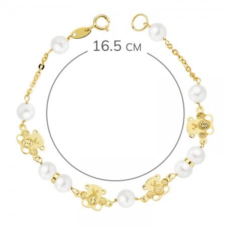 """Pulsera """"Bassa""""para niña 1ª Comunión en Oro 18kt con perlas y ositos - 16,5cm"""