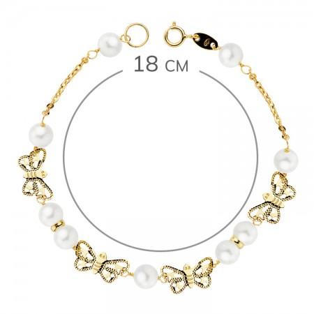 """Pulsera """"Vadella"""" Oro 18kt para niña 1ª Comunión con perlas y mariposas - 16cm"""