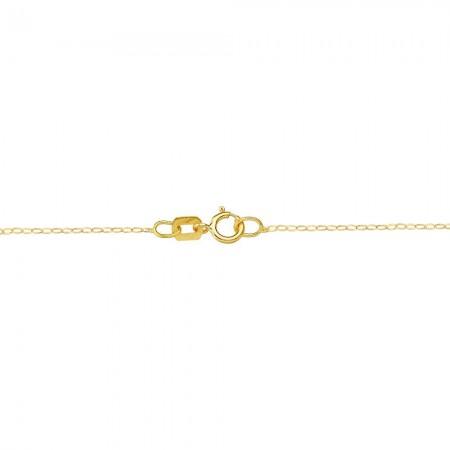 Gargantilla en oro amarillo de 18 ktes formada por cadena de eslabones tipo forzada y corona tallada plana calada