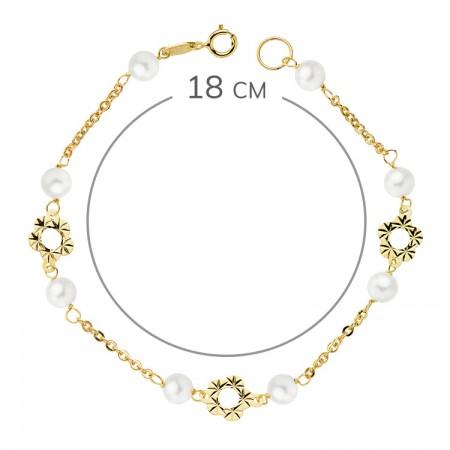 """Pulsera """"Mitjana""""de Oro 18kt para niña con perlas y flores - 18cm"""