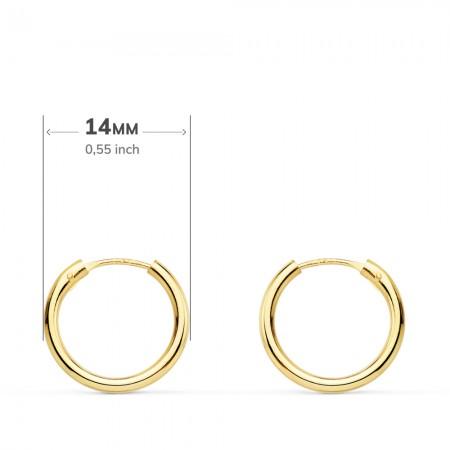 """Pendientes de aro """"Segre"""" en Oro 18kt -14mm x 1,5mm"""