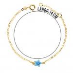 Pulsera con estrella azul esmaltada para bebé en Oro de !8 Kt -14 cm