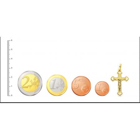 Cruz Tallada de 27mm con Cristo en Oro 18kt