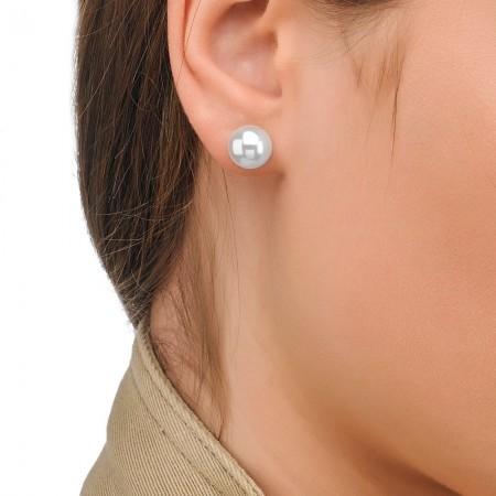 Pendientes de perlas clásicas10mm dorado