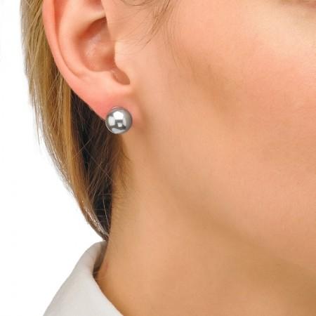 Pendientes de plata con perla gris 10mm