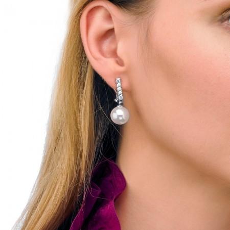 Pendientes para novia de perla y circonitas en plata