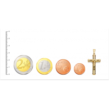 Cruz de Oro 18kt de palo oval con Cristo