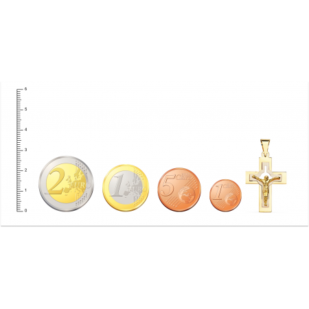 Cruz de Oro 18kt bicolor con cristo