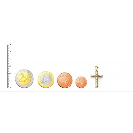 Cruz con Cristo con palos gruesos de Oro 18kt