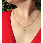 Cruz Diamantada de 27mm con Cristo de Oro 18kt
