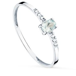 Sortija de Oro Blanco 18kt con 6 diamantes y Agua Marina natural
