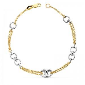 Pulsera con doble cadena y estribos en bicolor hecha en Oro de 18kt