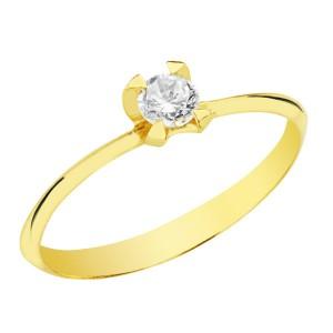 Solitario con piedra brillante en Oro Amarillo de 18kt