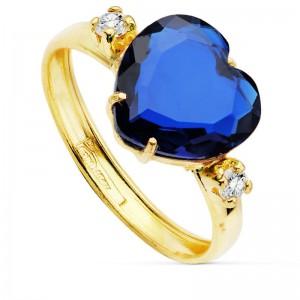 Sortija en Oro 18kt con corazón de 10x10mm en piedra color azul