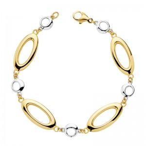 Pulsera de óvalos grandes y círculos en bicolor hecha en Oro de 18kt