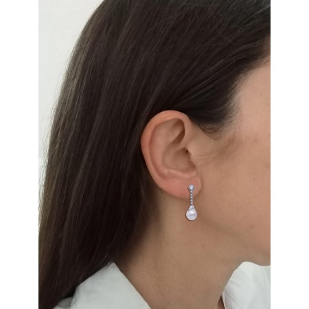 Pendientes de Oro blanco 18kt con perlas y circonitas