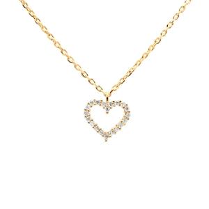 """Gargantilla """"White Heart"""" de plata dorada con circonitas"""