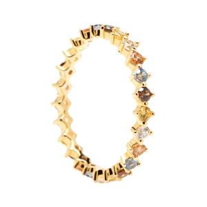 """Anillo """"Sage"""" de plata dorada con circonitas multicolor"""