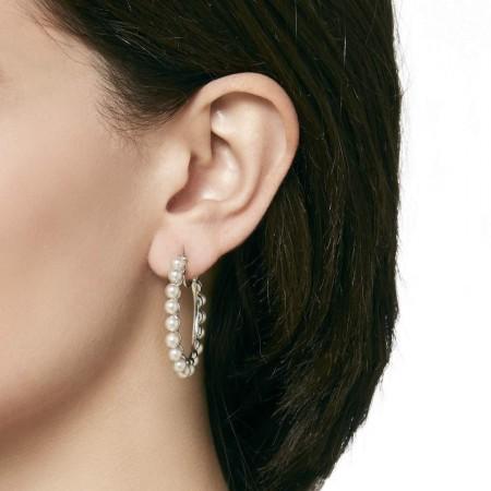 Pendientes de aro grande Ada con perlas