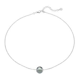 """Gargantilla """"Nuada"""" de plata con perla gris"""