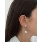 Pendientes largos de Oro blanco 18kt con perlas y circonitas