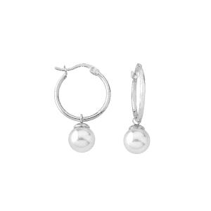 Pendientes Hoops de plata con perla 8mm