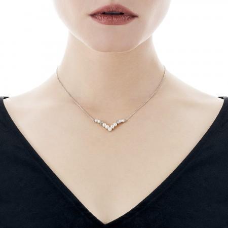 Gargantilla Arabesque de perlas y circonitas