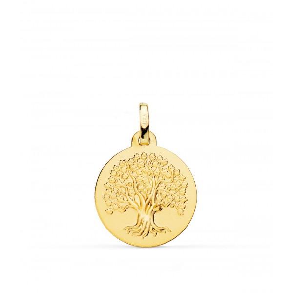 Medalla con Árbol de La Vida matizada en Oro de 18Kt -16mm
