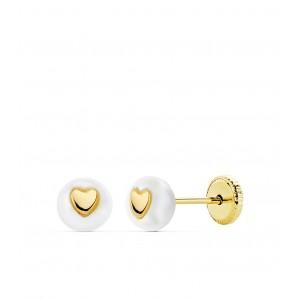 Pendientes Perla blanca con corazón dorado en Oro de 18Kt -5mm