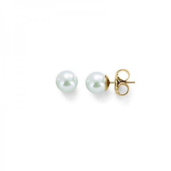 Pendientes studs perlas clásicas 6mm dorada