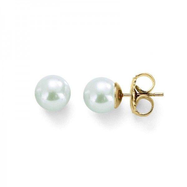 Pendientes studs perlas clásicas 8mm dorada