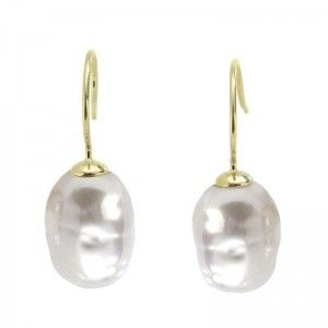 Pendientes Tender de plata con perla barroca