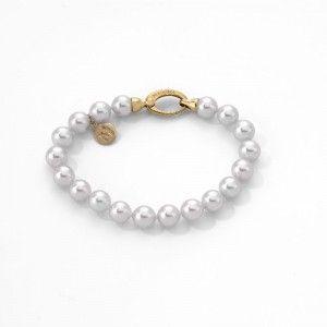 Pulsera Lyra de plata con perlas blancas
