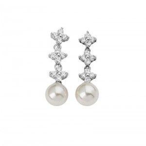Pendientes largos de perlas y circonitas