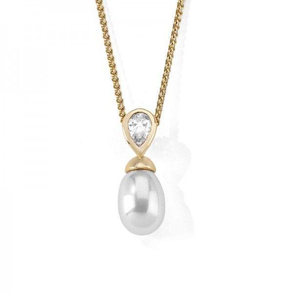 Tu y Yo colgante con cadena de perla y plata dorada