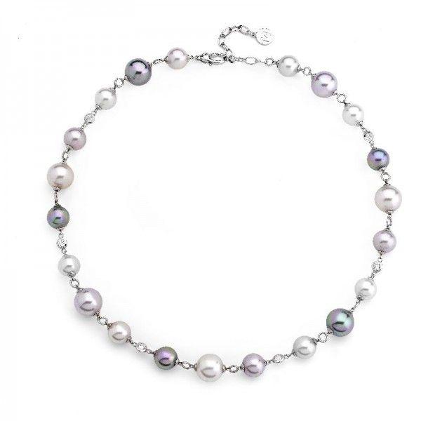 Collar multicolor de perlas encadenado de plata