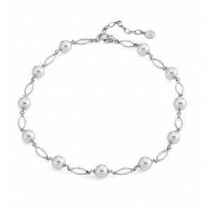 Collar Hoja de perlas y eslabones plata