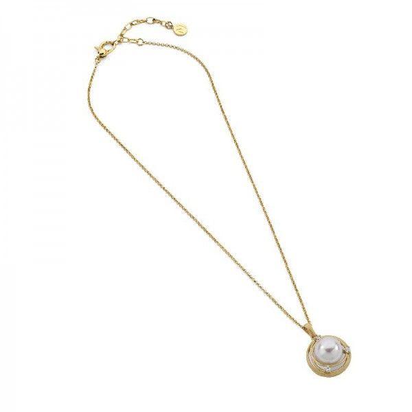 Nest colgante con perla y cadena de plata dorada