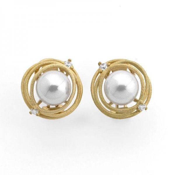 Pendientes Nest de perla y plata dorada