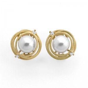 Pendientes Nido con perlas cierre omega
