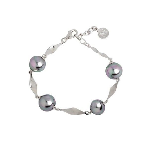 Pulsera bucle de perlas de color gris