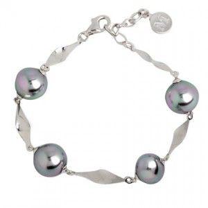Pulsera Bucle de perlas grises y plata
