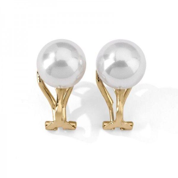 Pendientes de perlas esféricas de plata dorada