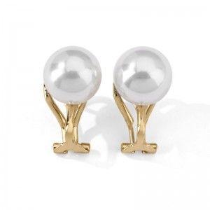 Pendientes omega perla10mm plata dorada