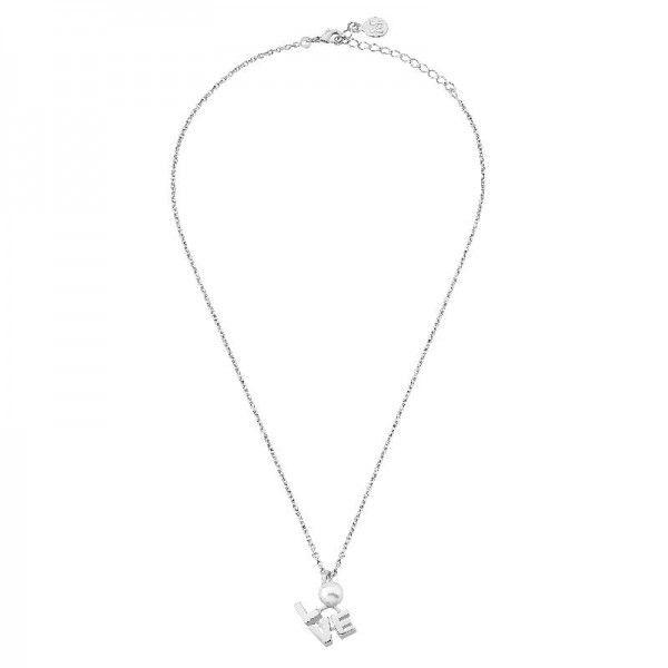 Love colgante con perla y cadena de acero